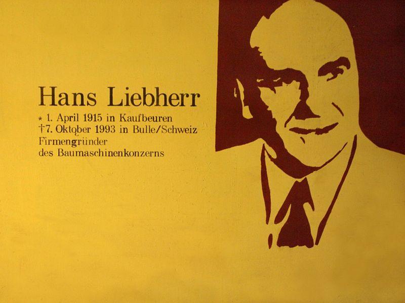 Мемориальная доска, посвященная Гансу Либхерру в помещении железнодорожного вокзала в Кауфбойрене