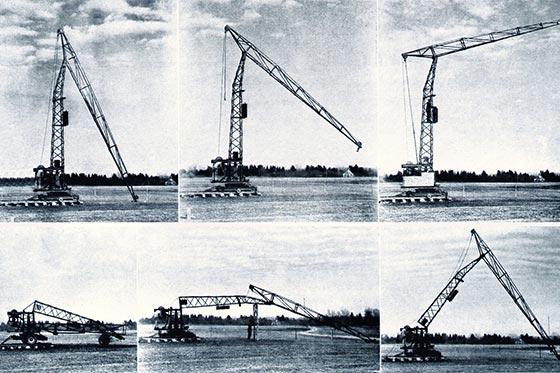 Мобильный башенный кран Liebherr TK-3 в процессе развертывания