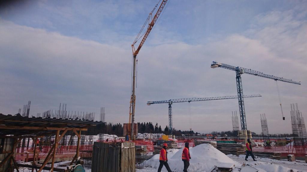 Быстроомнтируемый башенный кран Potain IGO 50 на строительстве пансионата для пожилых в Истринском районе МО